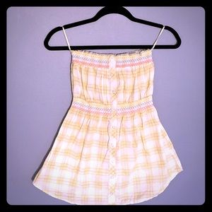 Yellow plaid tube top